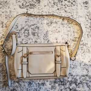 Cream Leather Buckle Crossbody Bag